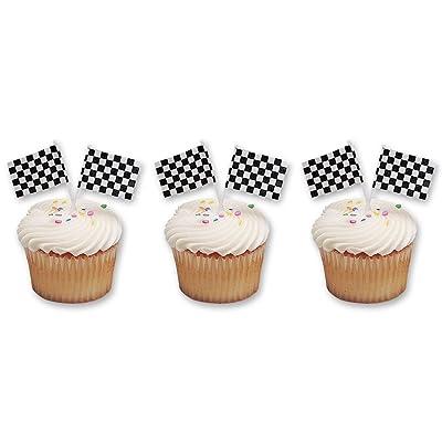 Checkered Flag Racing Cupcake Picks (48-Pack): Toys & Games