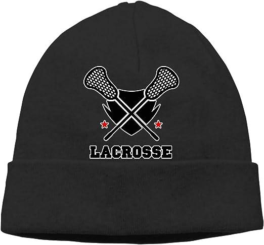 Men//Women Lacrosse Stick Outdoor Fashion Knit Beanies Hat Soft Winter Skull Caps