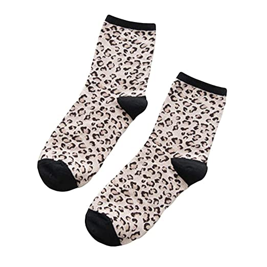 3fba2df3fcb37 Image Unavailable. Image not available for. Color: Geetobby Women Cotton  Socks Leopard Print Socks Retro Breathable Warm Pile Socks