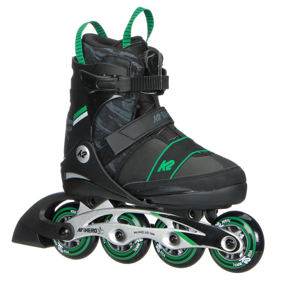 K2 Skate Sk8 Hero Boa Alu Inline Skates, Black Green, Size 1-5 by K2 Skate