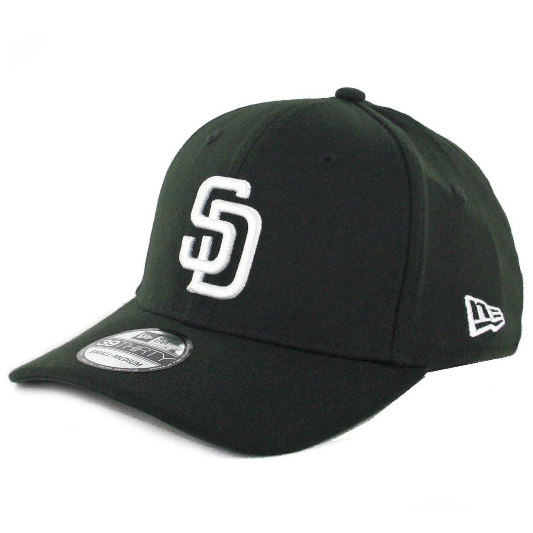 4693114d Amazon.com : New Era 39Thirty San Diego Padres Flexfit Hat (Black) Men's  Stretch Fit Cap : Sports & Outdoors