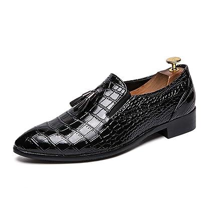 Jusheng Zapatos Formales de Oxford con Punta de Piel de Serpiente y Punta de Piel de
