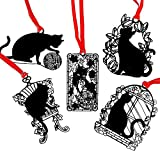 Aile Rabbit 5 Pcs Black Cats Series Metal Bookmarks Black Hollow Bookmarks (Birdcage cat,Leisure cats,Ball of yarn cat,Flower cat,Seat cat)