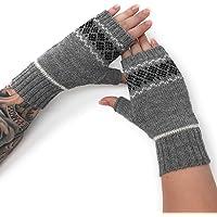 Women's 100% Alpaca Wool Fair Isle Geometric Fingerless Mittens -Texting Gloves - Wrist, Hand & Arm Warmers