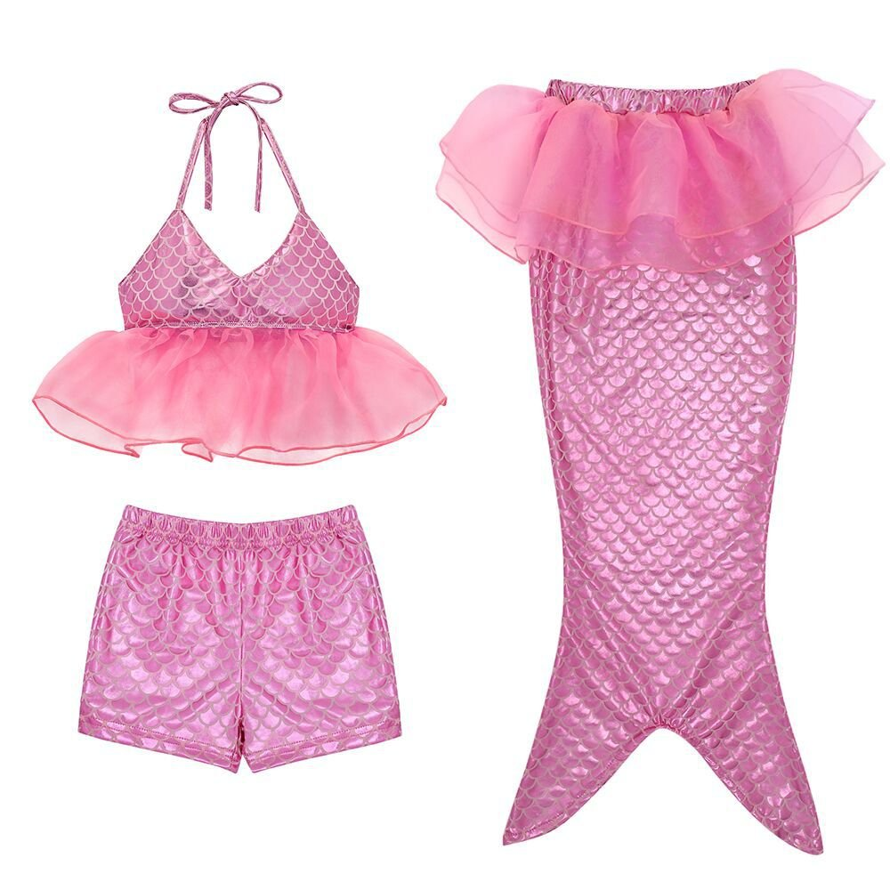 Girl 3Pcs Mermaid Tail Swimmable Bikini Set Bathing 2018 Summer Swimwear Cosplay 3-10Y ChTS006