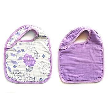 Purple,14x 9 Baby Bibs,Baby Burp Cloth,Baby Feeding Drooling Teething Bibs with Snap 2 Pack