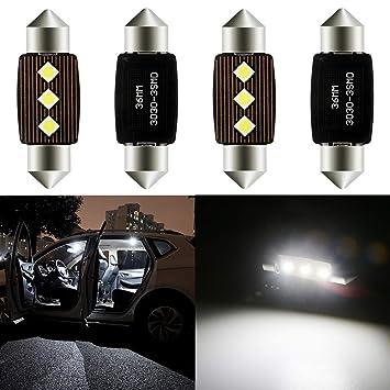 Grandview 4pcs Blanco 36MM C5W Canbus Bombillas LED con 3-3030-SMD 6411 6413 6418 C5W Bombillas LED Para el Interior del Automóvil Mapa de la Cúpula ...