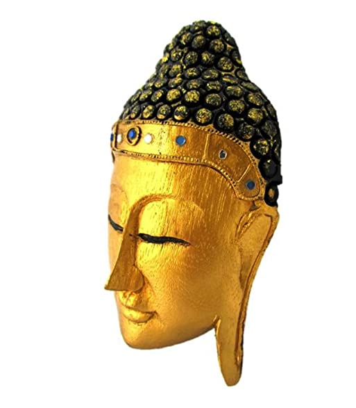 Amazon.com: Hand Carved Wood Buddha Head Sculpture Gold Face Home ...