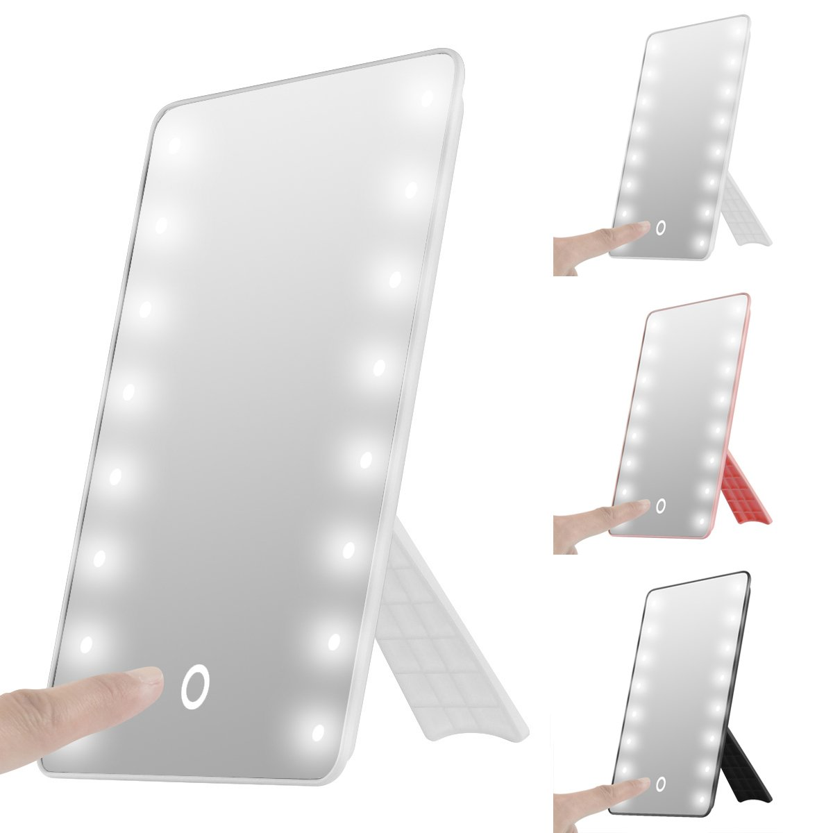 oenbopo Foldable LED Lighted Vanity Mirror with Light, Smart Touch Kickstand 16LED Lighted Vanity Mirror Makeup Cosmetic Countertop Cordless Table Mirror Adjustable Brightness (White)