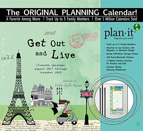 "Wells Street by LANG - ""Get Out And Live"", 2018 Plan-It Wall Calendar, Artwork by Debbie Taylor-Kerman - 17 Month (Aug. 2017 - Dec. 2018) - Pocket, Tab, Whiteboard - Open 12"" x 26"""