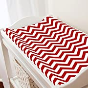 Carousel Designs Red Chevron Changing Pad Cover - Organic 100% Cotton Change Pad Cover - Made in the USA
