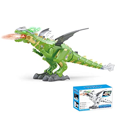 Kids Dinosaur Robot Toy, Electronic Walking Dinosaur Dragon Robot with Spray Function LED Light and Sound (Green): Toys & Games