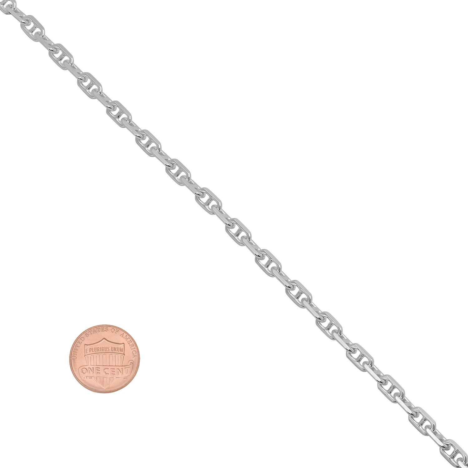 Jewelry Cloth 3.7mm Authentic 925 Sterling Silver Beveled Mariner Chain Bracelet Made In Italy