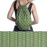 Palm Leaf unisex drawstring backpack Jungle Rainforest Pattern Hand Drawn Green Foliage Lushtravel Green Pistachio Green Apple Green