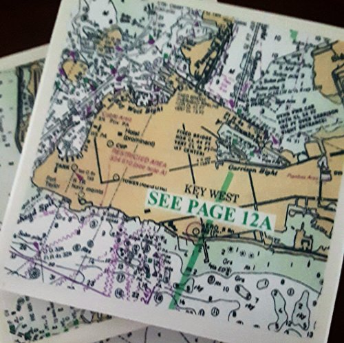 (Key West Nautical Coasters, Set of 4, Includes Stock Island and Calda Channel)