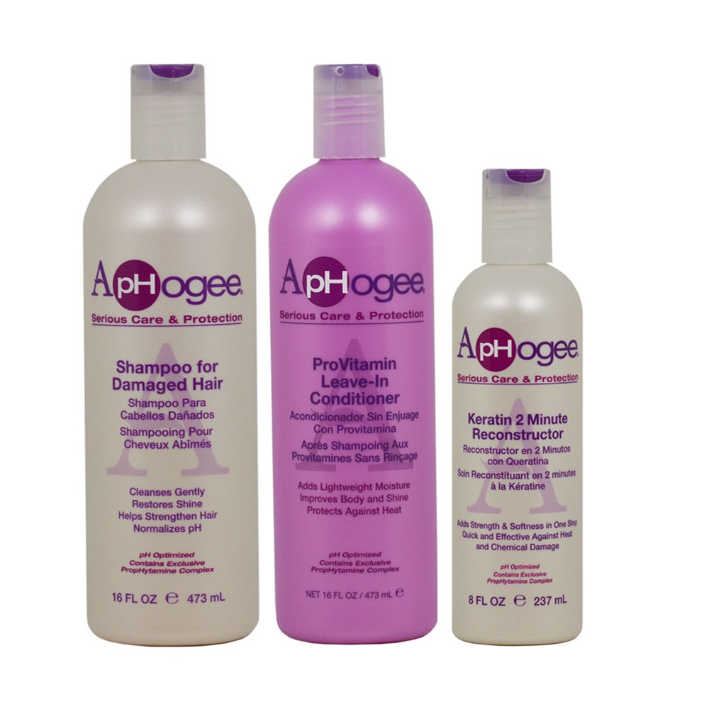 "ApHogee Shampoo for Damaged Hair + ProVitamin Leave-In Conditioner 16oz + Keratin 2 Minute Reconstructor 8oz""Set"""