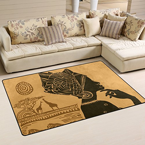 Yochoice Non-slip Area Rugs Home Decor, Vintage Retro African Black Woman Floor Mat Living Room Bedroom Carpets Doormats 60 x 39 inches