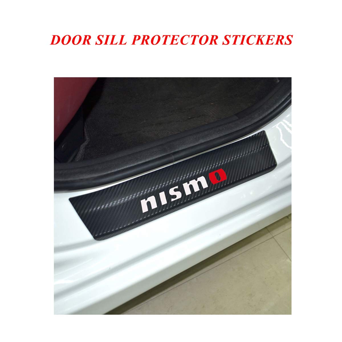 Door Sill protector films with QASHQAI Logo Universal Car Door Sill Entry Guards Protector Stickers Red Door Sill Scuff Plate Protector Pedals Cover Door Sill Protector Covers for Nissan series