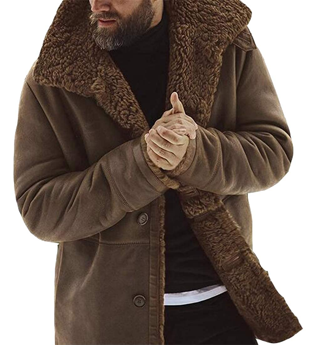 ARTFFEL Mens Lapel Plus Size Thicken Solid Color Warm Fall /& Winter Quilted Jacket Coat Outerwear