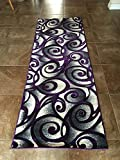 Modern Runner Area Rug Purple & Grey Swirl Design #341 Contempo (2ft.X7ft.3in.)
