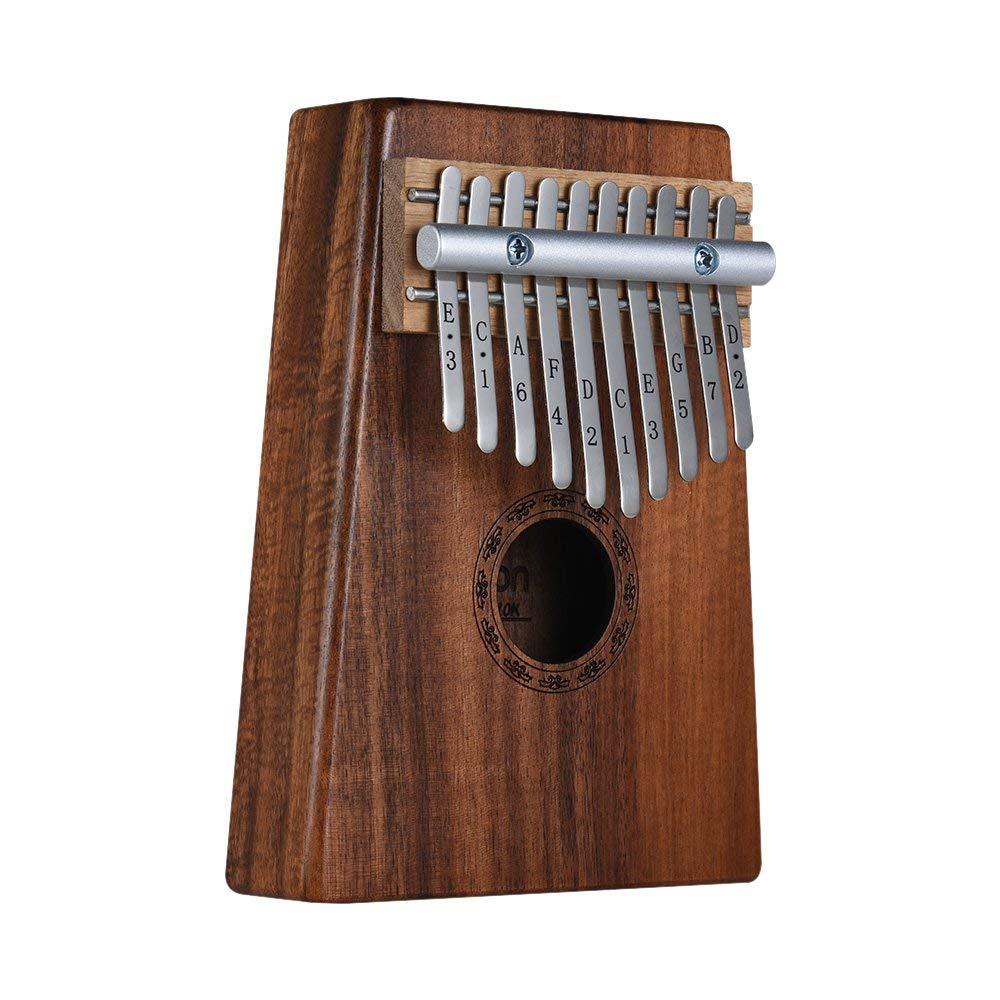 Kalimba 10-Key Pulgar Piano Mbira Sanza Hawaiana Madera Sólida Koa con Bolsa de Transporte Libro de Música Sintonización Martillo Regalo Musical