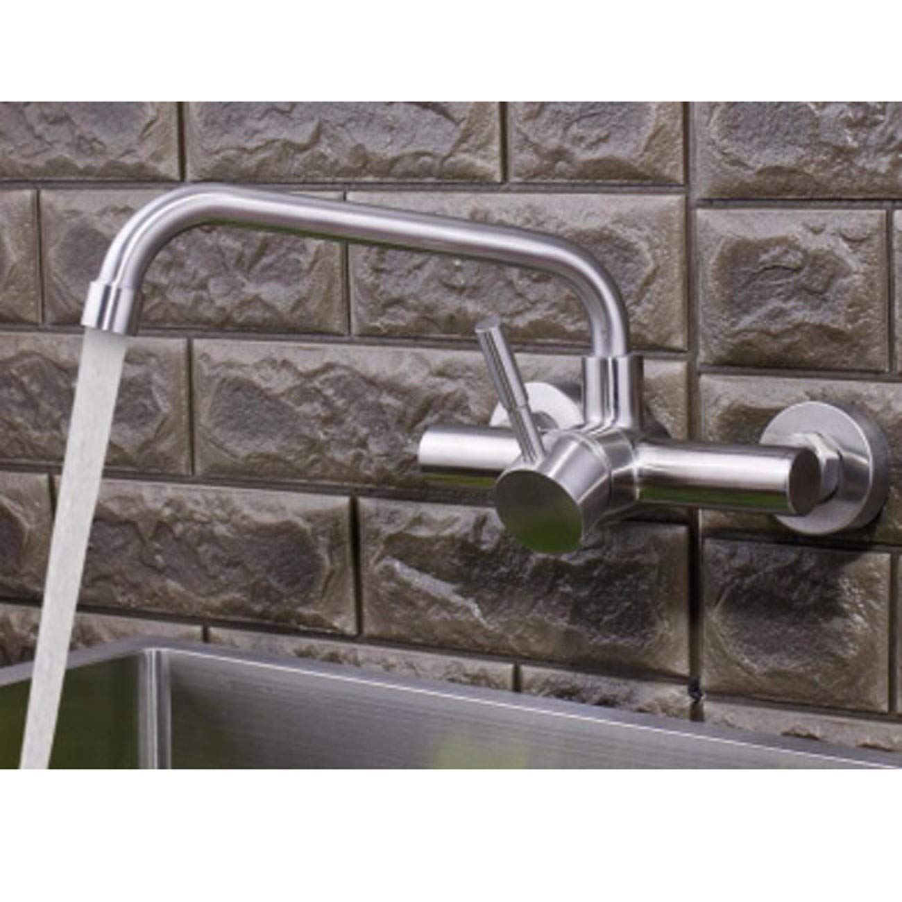 F MulFaucet Stainless Steel Wall-Mounted Faucet hot and Cold Kitchen Sink Faucet redating Sink C