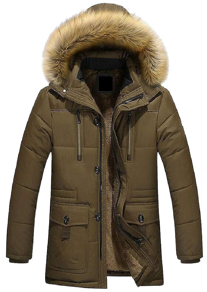 Z.Tianci Mens Oversize Faux Fur Hooded Fleece Parka Padded Coat Jacket