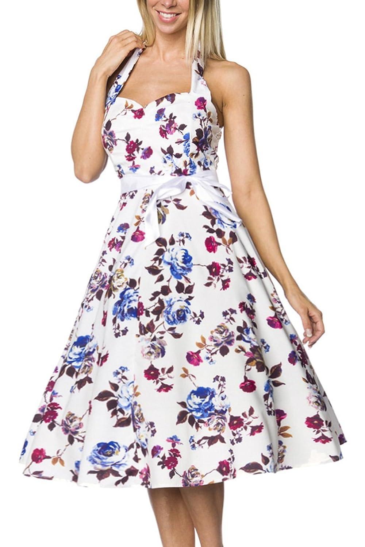 Weiß geblümtes Rockabilly retro Kleid mit Gürtel Damen vintage neckholder Sommerkleid knielang