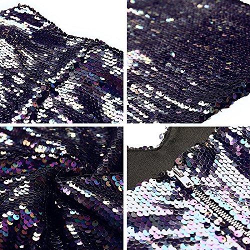 Club Dos Mini Pour ZhuXin Soire Soire lgant Robe Robe Les Moulante Paillettes cou Zip Fte Profonde Femmes De De Sexy Retour Nu V Robe fzP1Zf