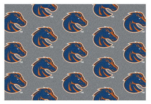 5'x8' BOISE STATE- Milliken NCAA College Sports Team Repeat Logo 100% Nylon Pile Fiber Broadloom Custom Area Rug Carpet with Premium Bound Edges by Koeckritz