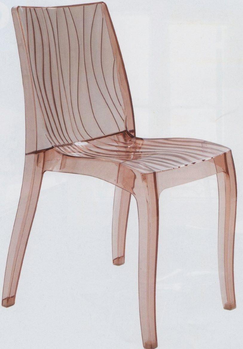 GRAND SOLEIL Grandsoleil upon Dune trasparente sedia impilabile, in policarbonato, marrone chiaro, 54x 50x 84cm Grandsoleil_S6327TRMAL