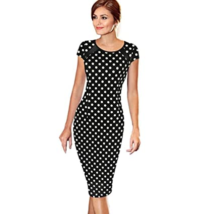 Amazon.com  Women Dress Daoroka Ladies Sexy Short Sleeve Elegant Wear Work  Office Pencil Sheath Bodycon Casual Cocktail Party Skirt (XL 70a75b12afc7