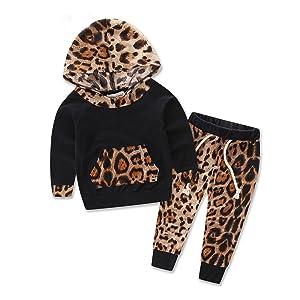 EKIMI Baby Kids Set Long Sleeve Leopard Print Tracksuit Top + Pants Outfits Set