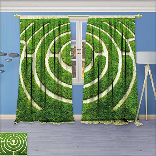 (aolankaili Abstract Decor Curtains, Chartres Circular Labyrinth in a Garden,Living Room Bedroom Window Drapes 2 Panel Set,108
