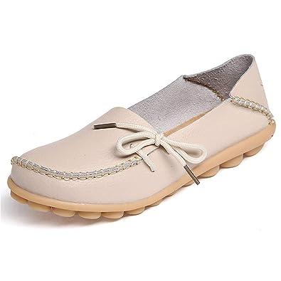 Mujer Mocasines de Cuero Slip On Moccasins Zapatos de Conducción Casuales: Amazon.es: Zapatos y complementos