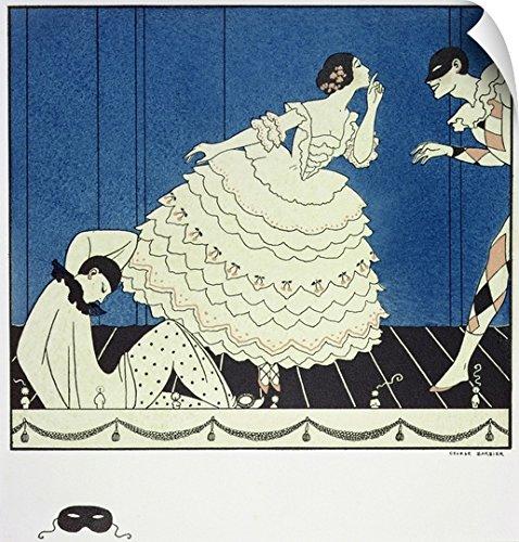 Commedia Dellarte Lovers Costumes (George Barbier Wall Peel Wall Art Print entitled Tamara Karsavina as Columbine, Vaslav Nijinsky as Harlequin and Adolph Bolm as Pierrot)