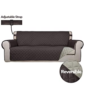 PureFit Reversible Quilted Sofa Cover, Spill, and Water Resistant Slipcover Furniture Protector, Washable Couch Cover with Anti-Slip Foam and Adjustable Strap for Kids, Pets (Sofa, Chocolate/Beige)