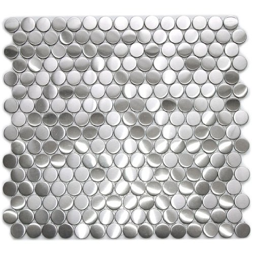 Penny Round Pattern Mosaic Stainless Steel Metal Tile - 5 mm Thick - Kitchen Backsplash/Bathroom Wall/Home Decor/Fireplace Surround