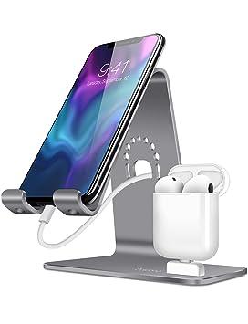 Bestand 2 en 1 Airpods Base de Cargador & Celular Soporte Sobremesa para Airpods, iPhone X / 8 Plus / 8 / 7 Plus / Samsung Galaxy, Espacio Gris ...
