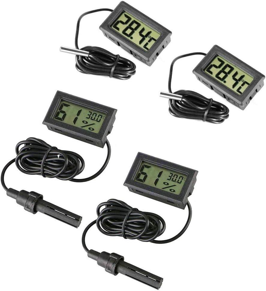 JZK 4 x Pequeño Digital Acuario termómetro higrómetro con sonda y batería, medidor de Temperatura del Agua medidor de Humedad para Acuario Marino, incubadora, Tanque de Reptiles