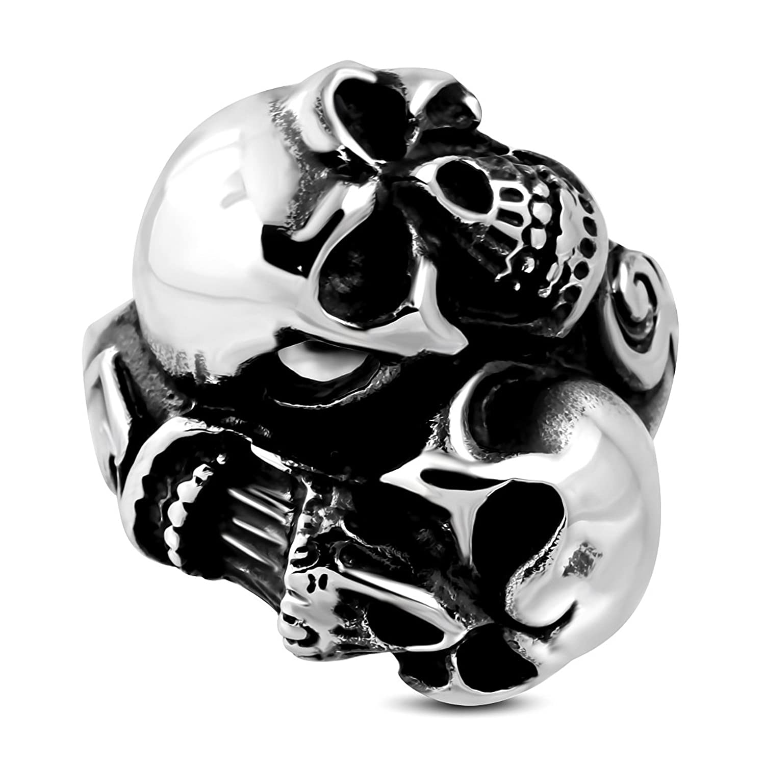 new york f7662 c3bac Stainless Steel 2 Color Spiral Double Ghost Skull Biker Ring