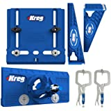 """Kreg Tool Company - Drawer Slide Jig with Cabinet Hardware Jig with Concealed Hinge Jig and Two 2"""" Face Clamps"""