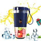Portable Blender Mini Juicer Smoothie Mixer with USB Charging Electric Shaker for Travel Outdoor Home Office School(Deep Blue)