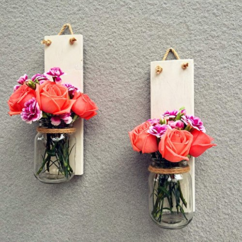 Wood Sconce Mason Jar Wall Vase, French Country Decor Shabby Chic, SET of TWO, Mason Jar Wall Decor Hanging Wall Sconce Candle Holder, Storage Organizer Pen Holder