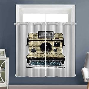 """Linhomedecor décor Darkening Curtains Vintage Polaroid Machine Grommets Window Darkening Curtains Darkening/Blackout Camera White Beige Black (1 Pair, 52"""" Width Each Panel)"""