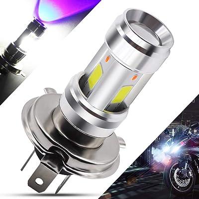 DC9-80V H4 LED Motorcycle Headlight Bulb 12Watts Super Bright 3 COB+3528SMD Chips 9003/HS1 Hi/Lo Beam Double Colors LED Lamp for Honda, Yamaha, Kawasaki,White+Blue.1-Pack.: Automotive