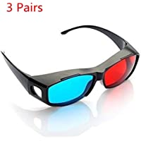 Sungpunet 3pcs Blue and Red 3D Eyeglasses Cyan Anaglyph Simple Style 3D Glasses Extra Upgrade Style to Fit Over Prescription Glasses for Movies Games