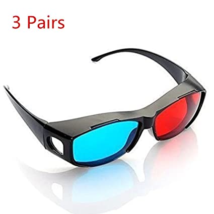 a4cb679ceb Image Unavailable. Image not available for. Color  NiceWave 3pcs Blue and Red  3D Eyeglasses Cyan Anaglyph Simple Style 3D Glasses Extra Upgrade Style