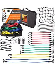 Bungee Cord Moving Straps by Wellmax   Durable Rubber Elastic Straps with Hooks   Plastic Coated Metal Hooks Attachable to Kayak Boat Luggage   24pc Set with Bonus Cargo Net Cover and Canopy Ties