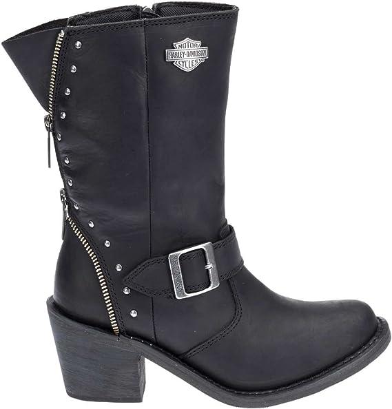 Harley Davidson Women's Rosanne 8 Inch Waterproof Black Motorcycle Boots D87127